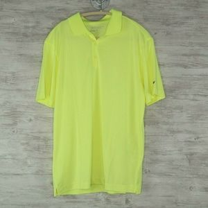 Nike Golf Polo Sz M Mens Bright Yellow Striped